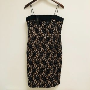NWT Talbots black lace nude dress size 6P